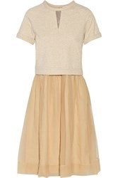 Brunello Cucinelli Layered Stretch Cotton Jersey And Silk Organza Midi Dress Beige