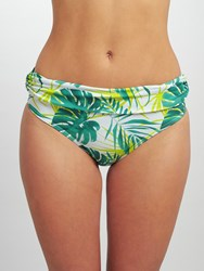 John Lewis Llenya Leaf Fold Briefs White Green