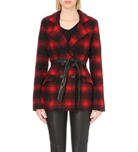 Paige Leona Checked Wool Blend Coat Red Black