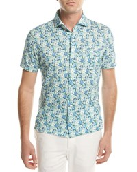 Isaia Floral Short Sleeve Sport Shirt Green Blue Multi