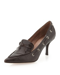 Donald J Pliner Crocodile Embossed Boat Lace Pumps Brown