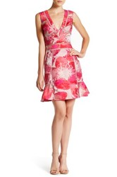 Abs By Allen Schwartz Floral Eyelet Peplum Skirt Red