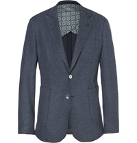Hardy Amies Basketweave Cotton And Wool Blend Blazer Blue