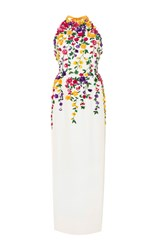 Oscar De La Renta Silk Halter Neck Gown With 3D Floral Embroidery White