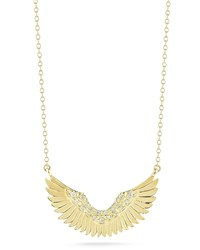 Mizuki Small 14K Gold Diamond Wing Pendant Necklace Size S Pearl