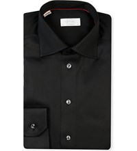 Eton Contemporary Fit Cotton Twill Shirt Black