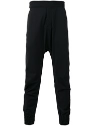 Odeur Drop Crotch Trousers Unisex Spandex Elastane Wool S Black