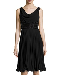 Teri Jon Beaded Pleated Sleeveless Cocktail Dress Black
