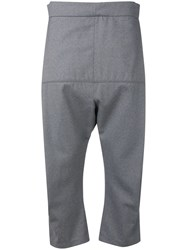Odeur Cropped Dropped Crotch Trousers Grey