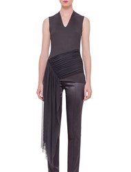 Akris Sleeveless Draped Waist Tee Black