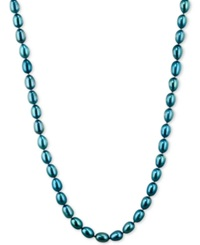 Honora Style Teal Cultured Freshwater Pearl Necklace In Sterling Silver 7 8Mm