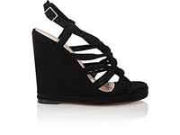 Barneys New York Women's Knotted Strap Suede Platform Wedge Sandals Black