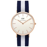 Daniel Wellington Men's Classic Rose Gold Nato Strap Watch Navy White