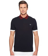 Fred Perry Colour Block Pique Shirt Navy Men's Clothing
