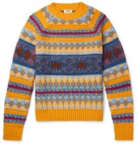 Acne Studios Slim Fit Fair Isle Knitted Sweater Yellow