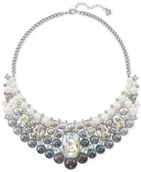Swarovski Silver Tone Ombre Imitation Pearl And Crystal Collar Necklace