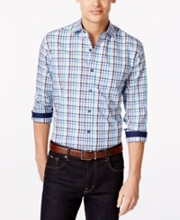 Tasso Elba Blue Fancy Gingham Big And Tall Shirt Only At Macy's Blue Combo