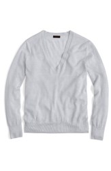 J.Crew Women's Featherweight Cashmere Pullover Heather Silver