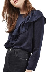 Topshop Women's Satin Ruffle Blouse Navy Blue