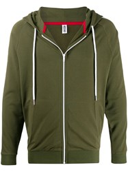 Moschino Side Panelled Zipped Hoodie Green