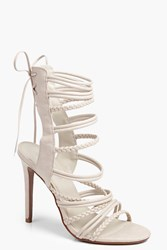 Boohoo Plaited Strappy Lace Up Sandal Nude