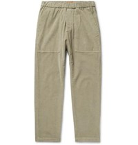Barena Tapered Stretch Cotton Corduroy Trousers Beige