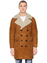 Dsquared Double Breasted Shearling Coat Camel
