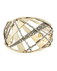 Alexis Bittar Crystal Encrusted Plaid Cuff Bracelet Yellow Silver