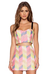 Milly Chevron Bustier Top Pink