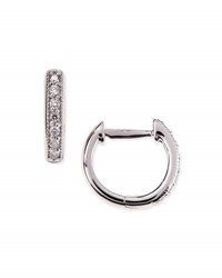 Jude Frances Small 18K White Gold Huggie Hoop Earrings With Diamonds 11Mm