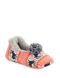Kensie Sherpa Lined Moose Slippers Crimson