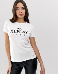 Replay Ripped 1981 Logo T White