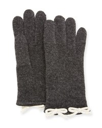 Neiman Marcus Cashmere Knit Bow Gloves Gray Brown