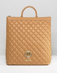 Love Moschino Structured Quilted Backpack Camel Beige