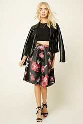Forever 21 Floral Print Knee Length Skirt