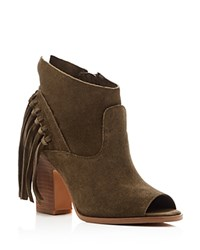 Marc Fisher Ltd. Onita Fringe Peep Toe Booties Olive Green
