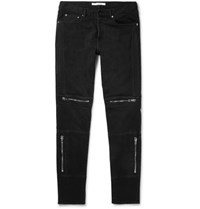 Givenchy Slim Fit Zip Detailed Stretch Denim Jeans Black