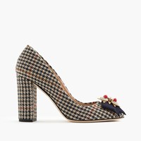 J.Crew Collection Lena Jeweled Pumps In Tweed Mustard Camel Multi