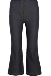 Mcq By Alexander Mcqueen Cropped High Rise Bootcut Jeans Dark Denim