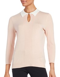 Karl Lagerfeld Collared Knit Sweater Petal