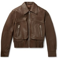 Christophe Lemaire Cropped Leather Blouson Jacket Brown
