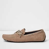 River Island Mens Blush Pink Grip Sole Lace Up Loafers