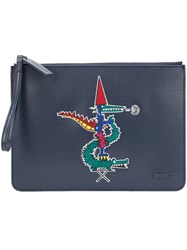 Lacoste Jean Paul Goude Alligator Motif Clutch Blue