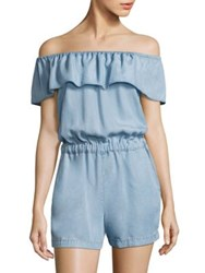 Splendid Off The Shoulder Chambray Romper Light Wash