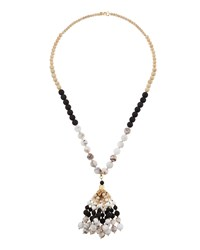 Lydell Nyc Tri Tone Beaded Bubble Tassel Necklace Multi