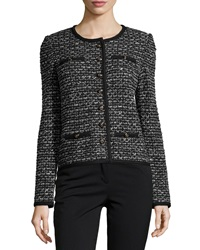 St. John Santana Mod Contrast Trim Check Knit Jacket Black