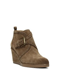 Franco Sarto Arielle Suede Wedge Booties Khaki Green