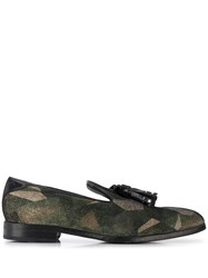 Jimmy Choo Foxley Patchwork Loafers Green