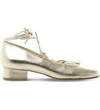 Dune Ballay Ghillie Lace Metallic Leather Court Shoes Gold Leather