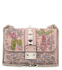 Valentino Garavani Lock Mini Crystal Embellished Shoulder Bag Pink